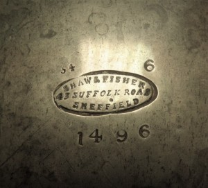 Merkteken antieke Engelse tinnen theepot, Sheffield
