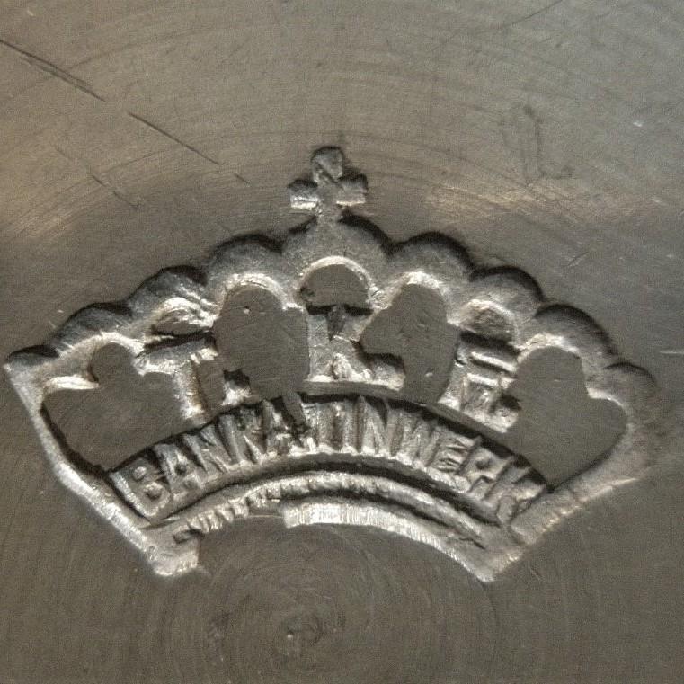 Merkteken Banka tin - Antiek tinnen theeservies