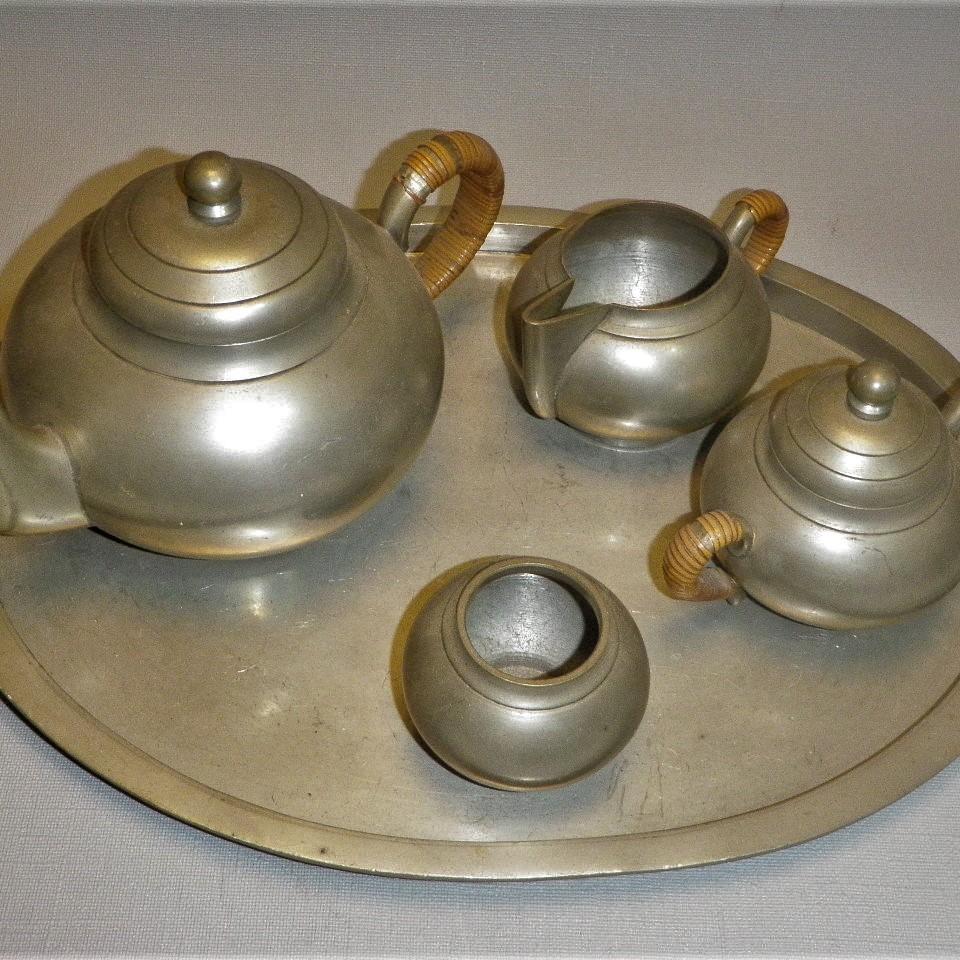 Antiek tinnen theeservies Indonesië - Pangkalpinang