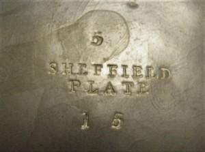 Merkteken antieke tinnen theepot, Sheffield, Engeland