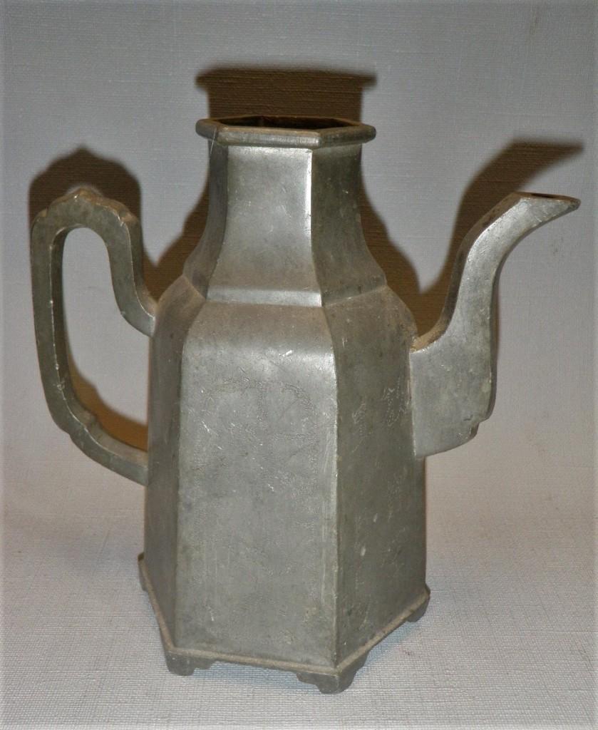 Chineese tinnen koffiekan antiek
