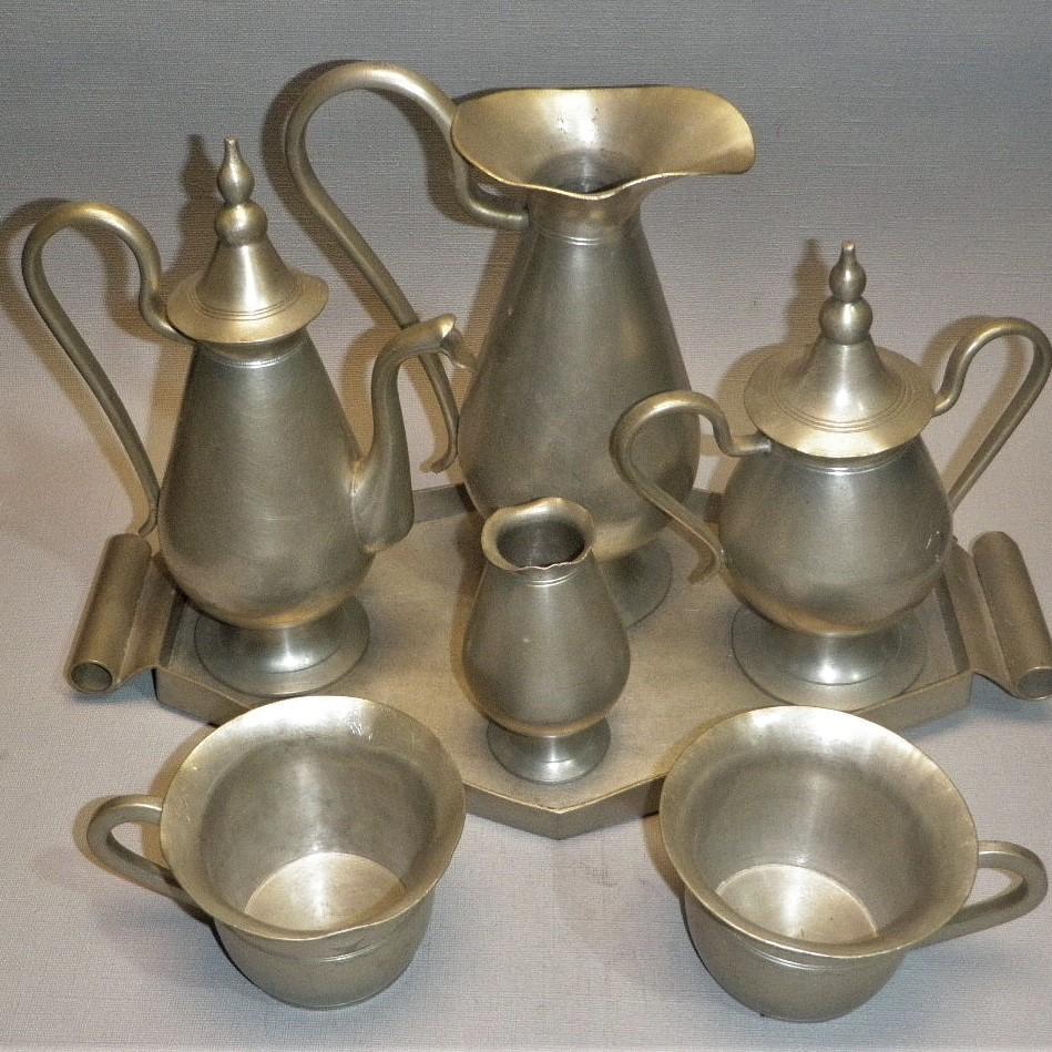 Antiek tinnen theeservies uit Indonesië - Soengeiliat, Banka