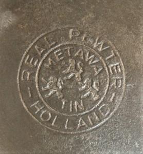 Merkteken tinnen theepot Metawa, antiek Nederland