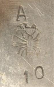 Merkteken theepot tin, Nederlands design antiek