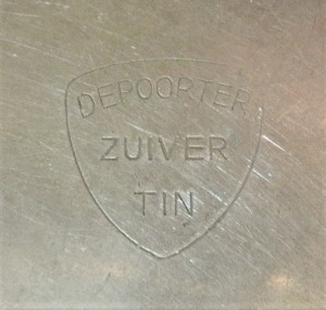 Merkteken antieke tinnen theepotje, Depoorter, Nederland