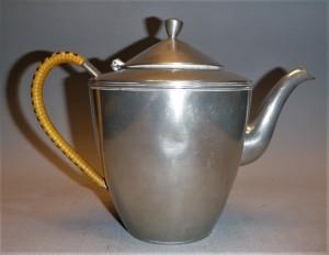 Koffiekan tin, antiek, Meeuws Zoon, Den Haag, Nederland